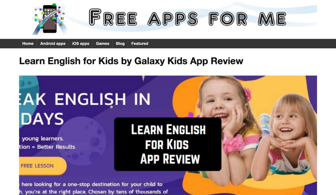 Galaxy Kids Featured on Free Apps For Me