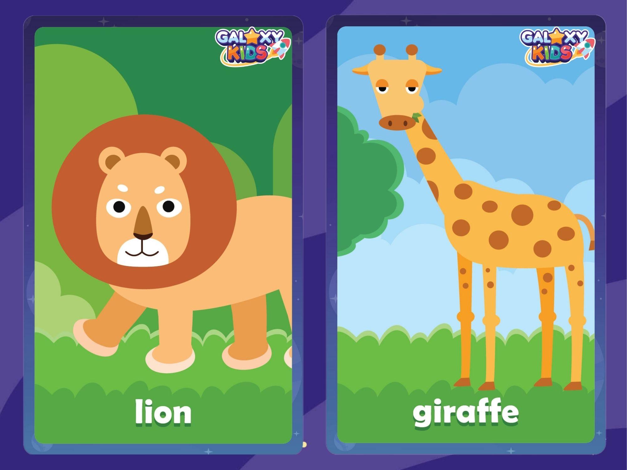 Animal Flashcards Lion and Giraffe